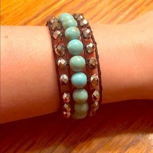 Beaded Stretch Bracelet Turquoise and Charcoal